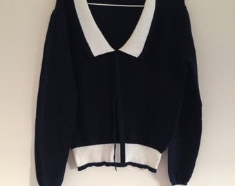 Navy Blue Knitted Sailor Sweater Cardigan With White Collar and Bow (size AU 12) Free Shipping