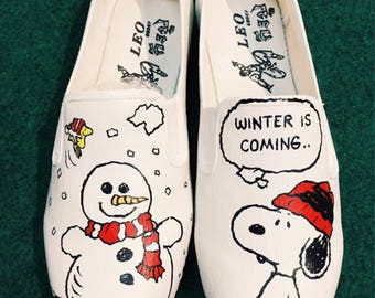 """Snoopy """"Snow is comming"""" Shoes, Snoopy painted Shoes, Slip-Ons Painted, Custom painted shoes"""