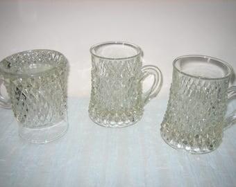 Vintage Cut Glass Mugs - Heavy Diamond Cut Glass Mugs Set Of Three - Diamond Cut water Or Beer Mugs