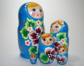 Matryoshka, russian nesting dolls, 5 pcs, blue with flowers, traditional russian gift, kids room decor