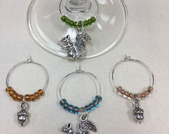 Squirrel Wine Charms
