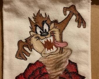 Hand painted Taz The Tasmanian Devil Mini Tote bag