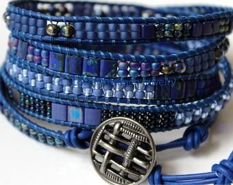 Leather Wrap Bracelet, Blue Wrap Bracelet, Prostate Cancer, Leather Beaded Wrap Bracelet, Wrap Bracelet, Beaded Wrap Bracelet, Leather Wrap