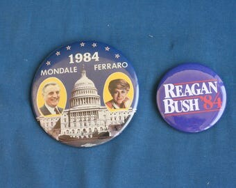 vintage 2 1984 Political Campaign Pin Button Mondale Ferraro 3.5'' & Reagan Bush 2.2''