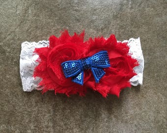 Baby Headband Red, White, Blue Patriotic July 4th