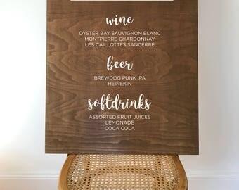 For Jess_ Gin bar menu wooden wedding sign - large // 80cm x 60cm // rustic wedding // wedding decor // wedding signs // wood signs // menu