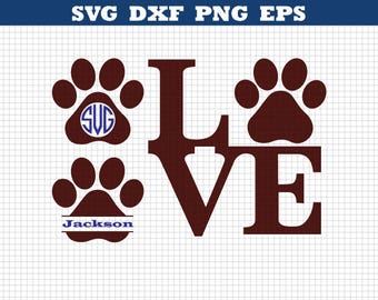 Love Paw Svg, Puppy Love Svg, Paw Print Svg, Cut table Design,Silhouette Studio & Cricut, Dog Clipart Files INSTANT DOWNLOAD