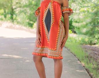 Ankara off Shoulder  Dress