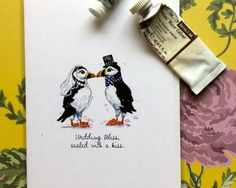 Puffin greeting card, watercolour
