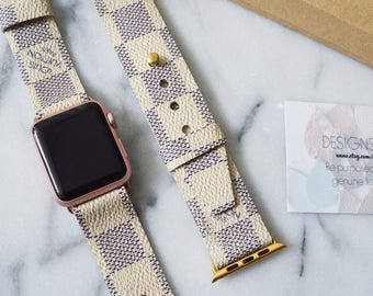 Louis Vuitton Damier Azur Apple Watch Strap 38MM & 42MM, Repurposed Louis Vuitton, Upcycle,Handmade Louis Vuitton