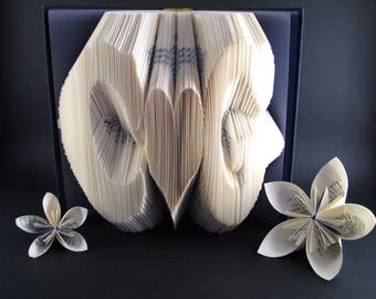Custom folded book - Initials - Heart - Book sculpture - Altered book - Gift