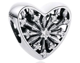 Sterling Silver Shooting CZ Heart compatible with Pandora