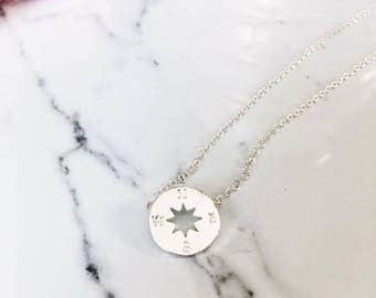 Silver Compass Necklace, Dainty Compass Necklace, Simple Minimalist Necklace, Tiny Silver Compass Necklace, Compass Pendant, Circle Disk