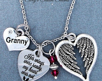 Granny ~ Her Wings Were Ready, My Heart Was Not Memorial Necklace, Swarovski Birthstone, Sympathy Jewelry Memorial Gift, Personalized Gift