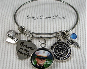 USMC Memorial Photo Charm Bangle Bracelet, Swarovski Birthstone, United States Marine Corps Jewelry Sympathy Gift, Military Veteran, Husband