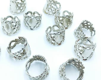 12pcs Rhodium Plated Adjustable Filigree Ring Bases with 12mm Pad