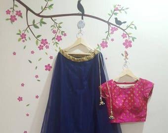 Blue lehanga with pink crop top