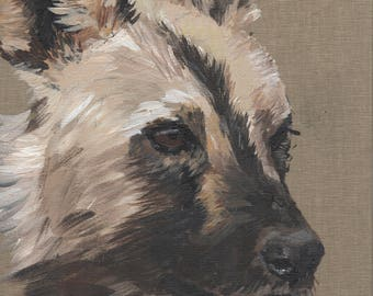 African Wild Dog painting on canvas board