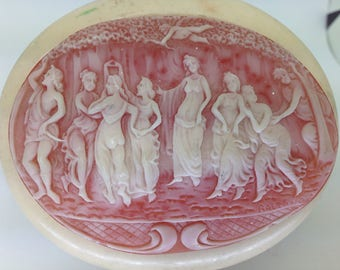 Celluloid Trinket Dresser Box / 1920s, ivory coloured, red velvet inside and base, beautiful semi-translucent lid, Classical Scene.
