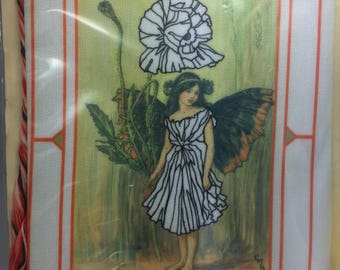Charming Nature Sprite. Canvas backing. Embroidery Threads. Vintage, 1970s?