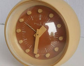 Retro Space Age Ruhla Made In GDR East Germany Mod Orange And Yellow 1960s Alarm Clock