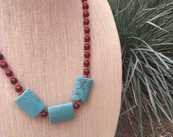 Desert Sunrise Necklace - boho jewelry, beaded necklace, turquoise necklace, statement necklace, vegan jewelry, nature inspired jewelry