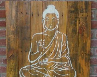 Rustic Buddha wall decor on recycled wood pallet stencils imagen