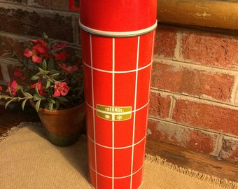 Cool Vintage 1950s Thermos. 1 Quart capacity. Mid Century Red & White Striped Color. Metal