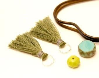 2 PomPoms khaki green, 35 mm, tassels, tassel Tassel tassel silver ring, hand made