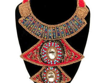Multi Color Bead and Crystal Bib Necklace