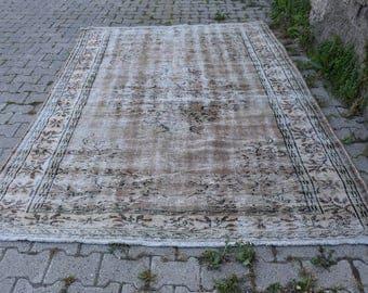 Faded Colored Free Shipping Large Oushak Rug 6 x 9.2 feet Anatolian Pale Colored Area Rug Decorative Rug Bohemian Rug Tribal Rug Code167