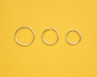 Handmade Thin Sterling Silver Endless Small Hoop Earrings | Sleepers | Tiny Hoops | Nose ring | 22 20 gauge | 10mm 8mm 7mm