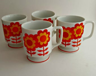 Set of Four Retro Floral Yellow, Orange, and Red Mugs