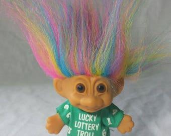 Vintage Russ Lucky Lottery Rainbow Hair Troll