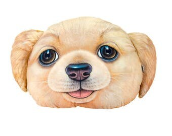 19 in. 3D Golden Retriever Cuddle Pillow, Dog Pillow Cushion, Free Shipping