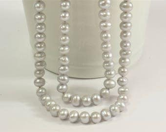 72 inches 8-8.5mm Light Silver Gray AA Potato Genuine Freshwater Pearl Necklace, Bridal Pearl Necklace, Long Pearl Necklaces (315-NKGY72)