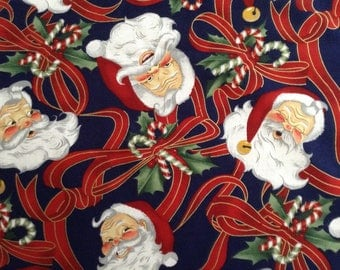 Christmas/Santa/Candy Canes/Ribbons on navy blue background cotton fabric by the yard
