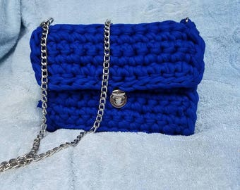 Handmade crochet clutch. Blue color,can be made in different color.