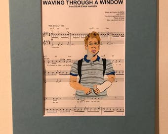 Waving through a Window painting w/ frame