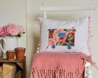 Shepherds Hut Cushion with pompom trim | Shabby chic shepherds hut decor | Rectangular scatter pillow with caravan design | Shabby chic gift