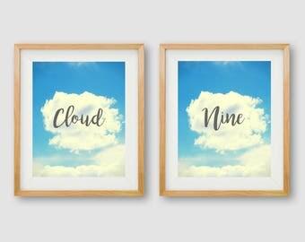 Sky Wall Art, Cloud Prints, Gallery Wall, Cloud Minimalist PRINTABLES, Sky Art, Modern Print, Cloud Nine Print, Bedroom Wall Art, Modern Art