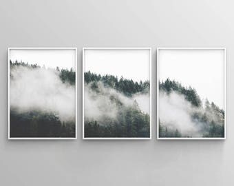 Minimalist Forest Print, Tree Wall Art, Set of 3 Forest Print, Green Forest
