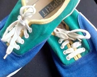Vintage Esprit Old School canvas rubber soles tennis Shoes 7 Blue Green Yellow 1980 90's
