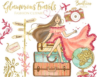 Gold travel clipart Watercolor clipart travel girl clipart globe clipart suitcase clipart photographer clipart camera clipart photography