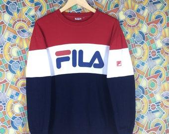 fila navy blue sweatshirt. rare ! vintage fila big logo multicolour colour block sweatshirt jumper pullover navy blue