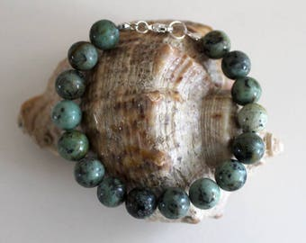 Beaded gemstone bracelet made of african turquoise and sterling silver 925, blue semiprecious stone bracelet, gemstone bracelet with silver