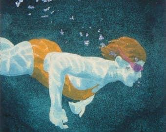 Original Art - Mini Swimmer no.12 - Painting in gouache, watercolour, aluminium leaf. Open water swimmer, diver. Artwork by Nancy Farmer