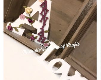 Personalised Freestanding Floral Name and Initial