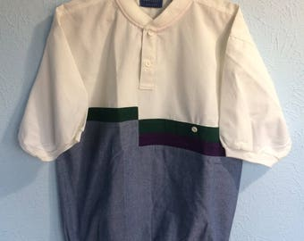 1980s cotton shirt with color blue, green and purple color block, Men's M
