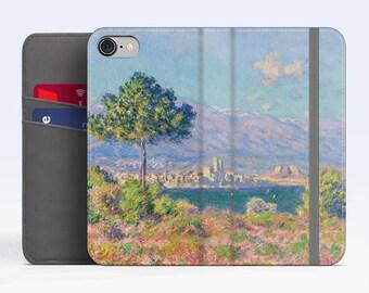 "Claude Monet, ""View of Antibes"". iPhone 8 Wallet case, iPhone 7 Wallet case  iPhone 6 Plus Wallet case. Samsung Wallet cases."